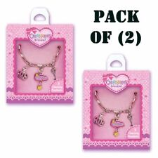 Pack of (2) New Charming Princess Bracelet with three pretty charms by Hot Focus