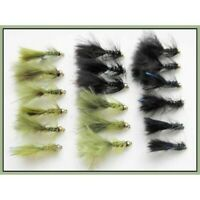Trout flies, Damsels, 18 Per Pack, Mini Flash Damsels, Size 12, Fishing Flies