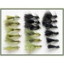 Trout flies, Damsels, 18 Per Pack, Mini Flash Damsels, Size 12, Fishing Flies