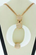 "14K Rose Gold Pendant Natural Round White Agate & Diamonds Tsavorite Garnet 16"""