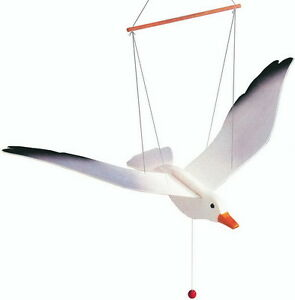 COLOURFUL WOODEN TOY HANGING NURSERY FLYING FLAPPING SEAGULL GULL MOBILE GIFT