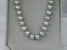 14K 10-11mm  Natural Pearls Platinum Gray Necklace