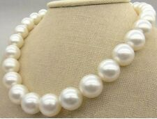 "HUGE 18""14MM NATURAL SOUTH SEA GENUINE WHITE PEARL NECKLACE 14K PERFECT ROUND"