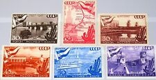 RUSSIA SOWJETUNION 1947 1131-36 1147-52 10th Ann Moscow Volga Canal Fluß MNH
