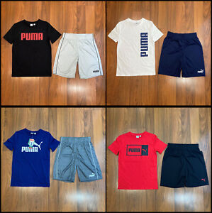 Puma Multicolor 2pc Set T-shirt Shorts Youth Boy's Size 3/4, 5/6, 7/8, 10/12 NEW