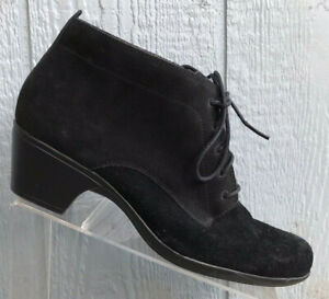 Womens Clarks Bendables Ankle Boots Bootie Shoes Size 12Wide Black Suede Lace Up