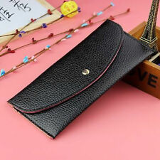 simple women thin purse long clutch wallet leather PU handbag card holder