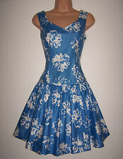 NWT Laura Ashley vintage ocean-blue floral swing skater dress net petticoat 14UK