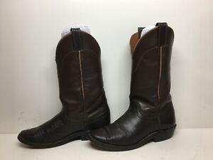 MENS UNBRANDED HANDMADE COWBOY DARK RBOWN  BOOTS  SIZE ??
