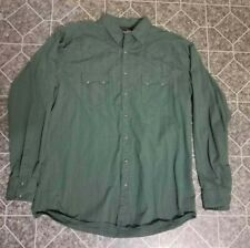 Wrangler Mens 2XLT Western Dark Pearl Snap Button Down Green Long Sleeve
