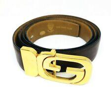VINTAGE 1970's GUCCI Reversable Brown Leather Gold G Buckle Belt