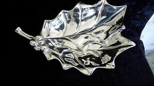 Mariposa Large Metal Dish Holly Berries With Two Leaves