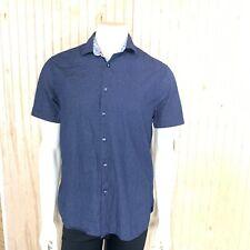 Denim Flower Men Large Slim Fit Button Down Shirt Top Blue White Polka Dot