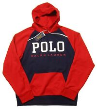 Polo Ralph Lauren Men's Navy/Red Colorblock Logo Double Knit Pullover Hoodie