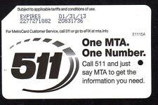 NYC MetroCard Mta Transit # 5 1 1  #  Expired Metro Card