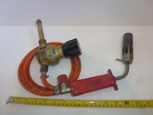 Vintage Bullfinch Propane Gas Torch Blowtorch + Hose & Regulator No1185
