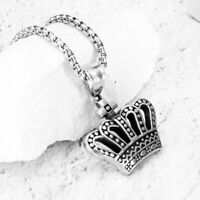 Women Men Silver Hollow Crown Pendant Stainless Steel Sweater Necklace Gifts