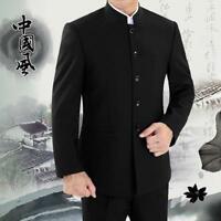 Mens Mandarin Banded Collar Single Breasted Chinese Traditional Suit Coats Zsell