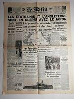N449 La Une Du Journal Le Matin 9 décembre 1941 États-Unis l'Angleterre en guerr