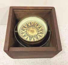 Antique Riggs & Brother Compass in Dovetailed Wood Case w/ Slide Wood Top Works