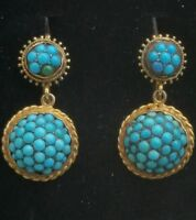 Antique 14k Gold Paved Turquoise Dangle Earrings /Victorian Turquoise Earrings