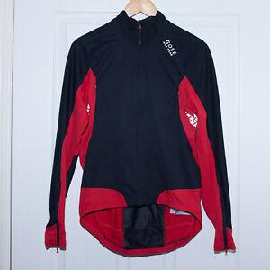 Men GORE BIKE WEAR WINDSTOPPER Black Soft Shell /Red Jacket Size Medium