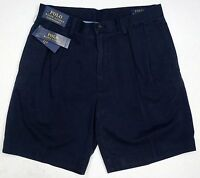 "NWT $75 Polo Ralph Lauren Classic Fit Pleated 9"" Mens Chino Khaki Shorts Navy"