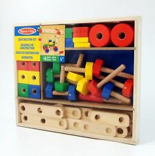 Wooden Construction Set 48 Wooden Building Blocks Melissa and Doug Nuts Bolts