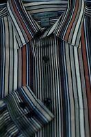 Johnston & Murphy Men's Black Gold & Blue Stripe Cotton Casual Shirt M Medium