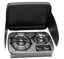 RV Trailer Camper Kitchen Counter 2 Burner Gas Cooktop Stove Outdoor Cook Top