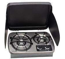 RV Trailer Camper Kitchen Counter 2 Burner Gas Cooktop Stove Outdoor Cook Top