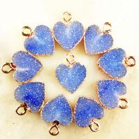 10pcs Wrapped Blue Titanium Crystal Heart Pendant Bead 13x12x2mm DC201955011