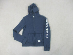 Abercrombie & Fitch Sweater Youth Medium Blue White Full Zip Hoodie Kids Boys