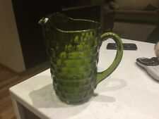 "MINT INDIANA GLASS WHITEHALL ""FOSTORIA""  AMERICANA AVOCADO GREEN COLONY PITCHER"