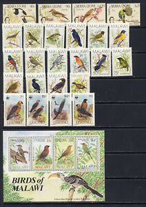 Birds on stamps from valuable mnh vf former British African colonies  90.40