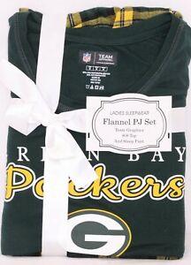 NEW Green Bay Packers NFL Team Apparel Sleepwear SS Shirt Pants Pajamas Womens M