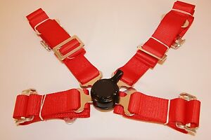 """Universal Red Racing Seat Belt Safety Harness 4 Point 2"""" Wide"""