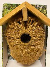 Wood & Sisal Nesting Nest Box Bird House Small Wild Birds Blue Tit Robin Sparrow