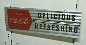 "Coca Cola ~ Delicious Refreshing  ~ 8"" x 24"" Sign - Mancave Bar Garage Fire"