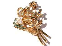 Bijou alliage doré broche bouquet floral perles et cristaux  brooch