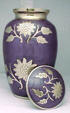 Cremation Ashes Urn Adult,  funeral memorial remembrance Large Purple Brass Urn