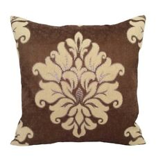 Satin Silver Effect Damask 18x18 Light Brown Decorative Pillowcase/Cushion Cover