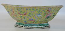 A 19th C Chinese yellow enamel porcelain octagonal bowl Guangxu. Qianlong mark