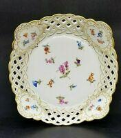 Antique Carl Teichert Meissen Porcelain Reticulated Hand Painted Bowl C1890