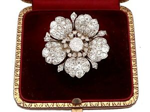 11.97ct Diamond and 10k White Gold Floral Brooch Antique Circa 1890
