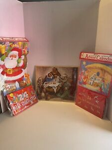 Lot of 2 Vintage Caltime Christmas Advent Calendars 1992-1993 2 With Chocolate