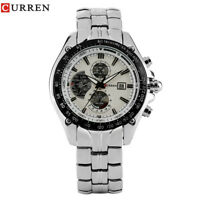 CURREN Date Display Round Stainless Steel Band Men Analog Quartz Wrist Watch