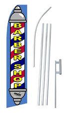 Barber Shop Advertising Banner Flag Complete Tall Sign Kit 2.5' wide Blue