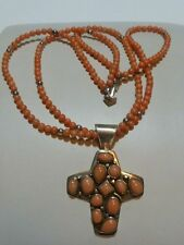 """JAY KING DTR STERLING SILVER CORAL WOMENS CROSS NECKLACE 18"""" 46 GRAMS BEAUTY!"""