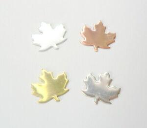 2 x Small Maple Leaf Blanks jewellery making. Copper Brass Aluminium Silver
